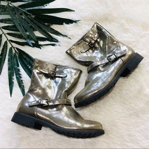 Motorcycle Combat Ankle Boots Metallic Gold 10